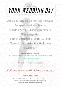 Pack {YOUR WEDDING DAY} euro 1.590,00 - Walter Marone ART Photography